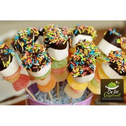 Brochetas de Marshmallow con chocolate y gomitas x20
